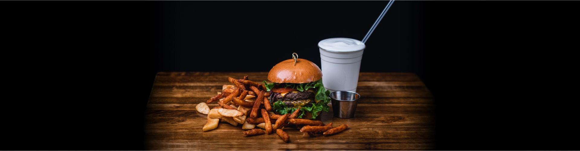 burger with shake
